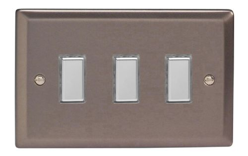 Varilight JRES003 Classic Pewter 3 Gang Touch Dimming Slave (use with V-Pro Master)